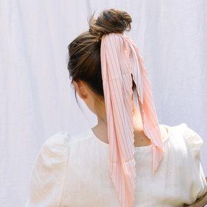 Pleated Silk Scarf - Blush